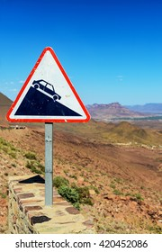 street sign slope at high atlas in morocco