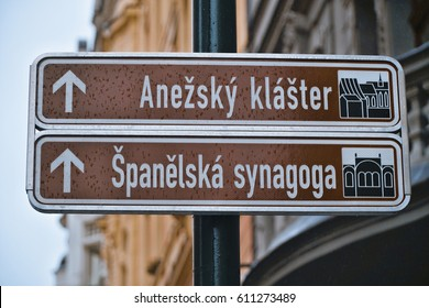 Street sign to Spanish Synagogue in Prague - the Jewish Quarter - PRAGUE / CZECH REPUBLIC - MARCH 19, 2017