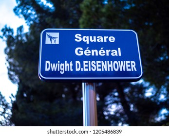 street sign for square General Dwight D. Eisenhower
