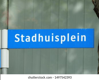 Street sign Stadhuisplein the Netherlands. City Hall. Part of a serie.
