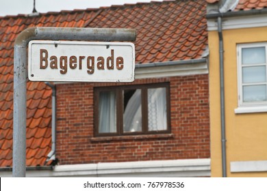 Street sign.  Svenborg in the Fyn island in Denmark