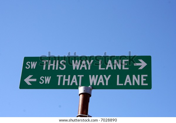 Street sign for This Way Lane and That Way Lane against clear blue sky.