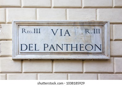 Street sign Via del Pantheon in Rome, Italy