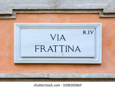 Street sign Via Frattina in Rome, Italy