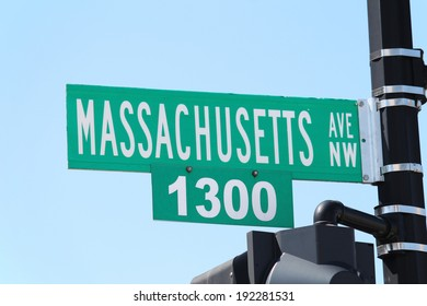 A street sign in Washington DC reading Massachusetts Ave
