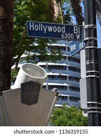 Street signs for the iconic Hollywood and Vine Street in Los Angeles