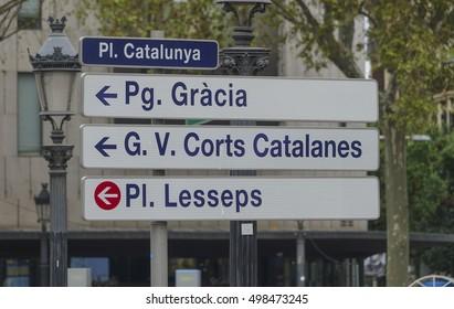 Street signs at Placa de Catalunya in Barcelona - BARCELONA / SPAIN - OCTOBER 4, 2016