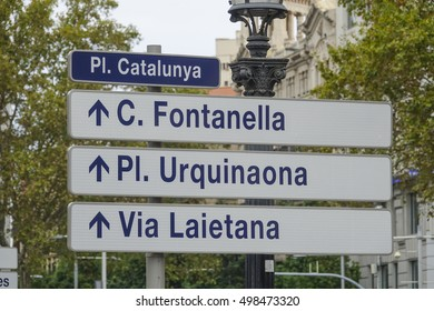 Street signs at Placa de Catalunya in Barcelona - BARCELONA / SPAIN - OCTOBER 4, 2016