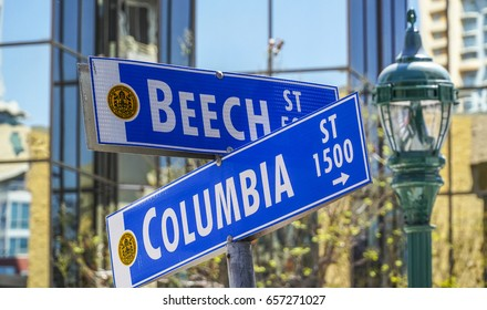 Street signs in San Diego - Beech Street and Columbia - SAN DIEGO / CALIFORNIA - APRIL 21, 2017