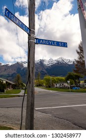 Street signs with Scottish place names in Glenorchy, New Zealand