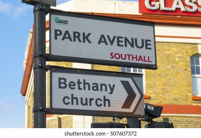Street signs at Southall in London - LONDON / ENGLAND - SEPTEMBER 23, 2016