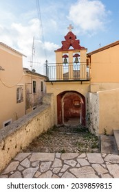 Street in Sinarades village, Corfu island, Greece