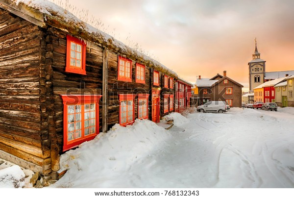 Enjoyable Street Snowy Town Roeros Old Timber Stock Photo Edit Now Interior Design Ideas Skatsoteloinfo