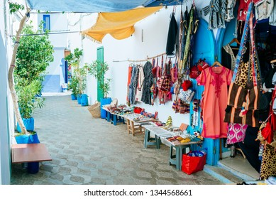 Street with souvenir shop in the streets of Asilah, Morocco