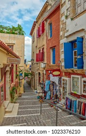 Street with souvenir shops in old town Chania, Crete island, Greece