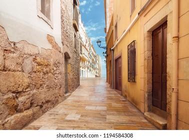 Street of the Spanish city of Tarragona on the Mediterranean coast