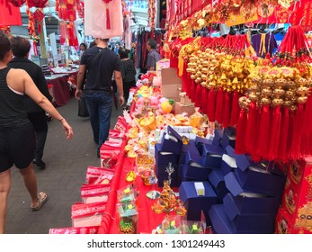 A street stall selling chinese new year decorations in Clementi, Singapore February 1st 2019.
