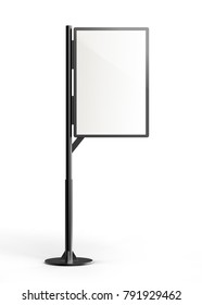 Street stand lightbox template, blank 3d render signboard with black frame