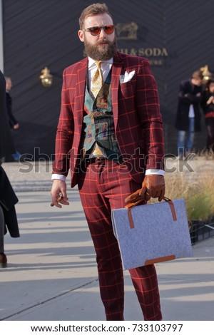 Street Style Fashion Fair Pitti Uomo Stock Photo (Edit Now ...
