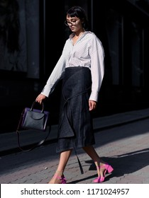 Street style fashion. Professional model.