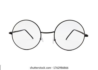 Street style oval prescription glasses with thin black metal frame, clear lens, isolated on white background, front view.