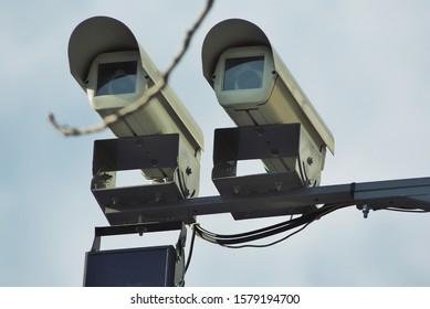 Street surveillance camera. Fixing violations. Fines drivers