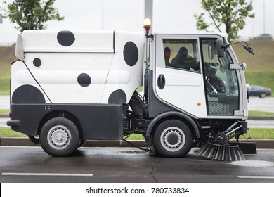 A street sweeper machine cleaning the streets