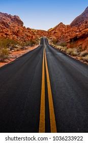 Street through rocks in Nevada