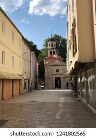 Street towards the Crkva Gospe od zdravlja church in Zadar, Croatia