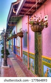 Street in the town of Guatape near Medellin, Colombia