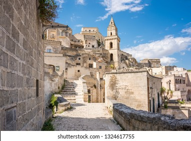 A street in the town of Matera in Italy with historic buildings. Unesco heritage site