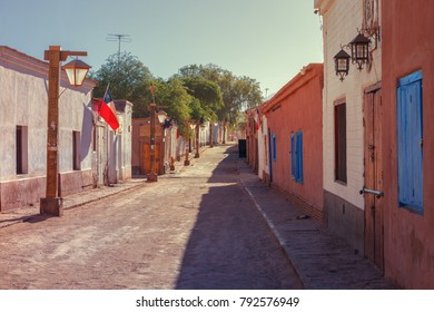 Street in the town of San Pedro de Atacama, northern Chile