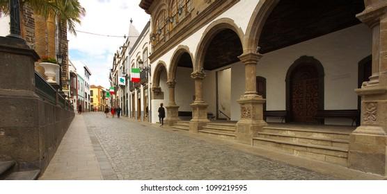 Street in a town of Santa Cruz de la Palma, island of la Palma, Canary islands - 03-16-2018/Spain