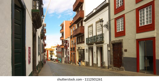 Street in a town of Santa Cruz de la Palma, island of la Palma, Canary islands, Spain, 03-14-2018
