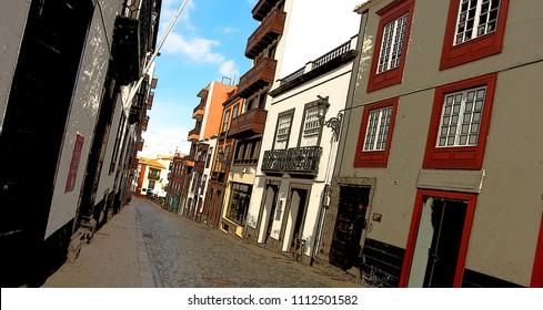Street in a town of Santa Cruz de la Palma, island of la Palma, Canary islands