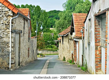 Street with traditional houses in Champagne-Ardenne region of France