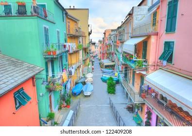 Street in a traditional Italian village Manarola (Cinque Terre, Italy)