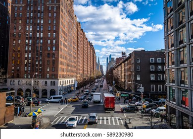 Street traffic and buildings in Chelsea - New York, USA
