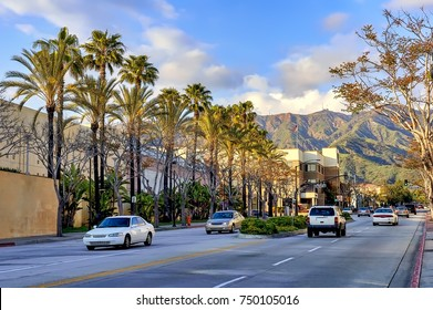 Street traffic in the city of Burbank, California.