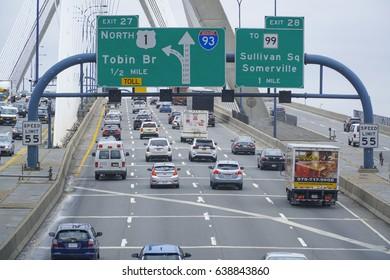 Street traffic on Leonard P. Zakim Bunker Hill Bridge Boston - BOSTON / MASSACHUSETTS - APRIL 3, 2017
