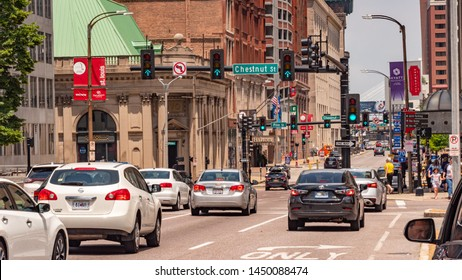 Street traffic in St Louis - SAINT LOUIS. MISSOURI - JUNE 19, 2019