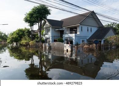 Street under flood water, Bangkok, Thailand.
