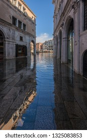 Street under water during flood, Venice, Italy.