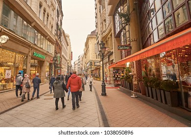 Street Vaci in Budapest. The famous street in Budapest with lots of tourists in town. Photo taken in February 17, 2018 in city Budapest in Hungary.