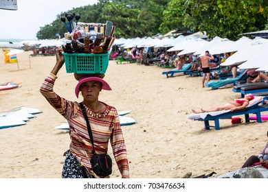 STREET VENDORS, BALI, INDONESIA -8th OCT 2016:-Street and Beach sellers are a part of the tourist trade in Bali