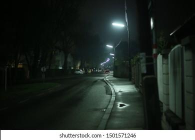 Street of Viena at rainy night