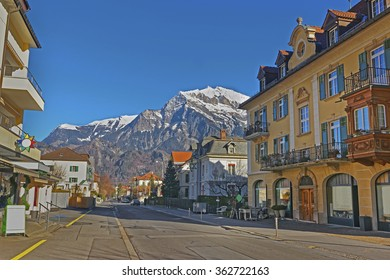Street view of the Alps. Bad Ragaz is a city in canton St. Gallen in Switzerland.  It lies over Graubunden Alps. Spa and recreation village is at end of Tamina valley