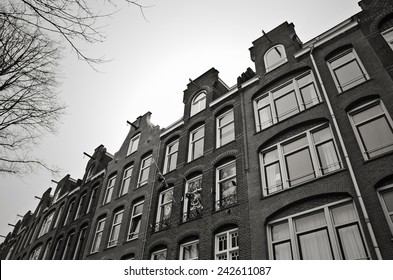 Street view of Amsterdam houses.