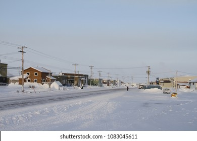 Street view of an arctic community and neighbourhood, located in Arviat, Nunavut Canada