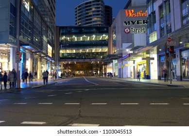 Street view of Bondi Junction in Sydney Australia as on 26 May 2018. Night time view of Sydney cityscape